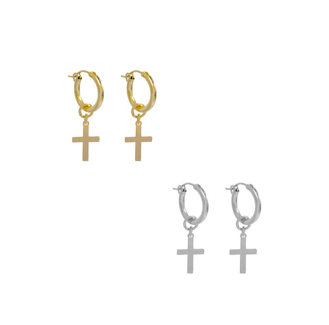 Paris Hoop with Mini Cross Earring - Gold, Silver >>