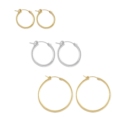 The Paris Thick Hoop Earring, 3 Sizes in Gold, Silver