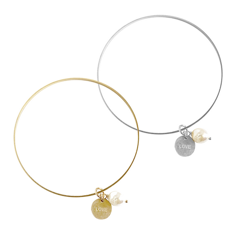 Love Pearl Bangle in Gold and Silver Colors