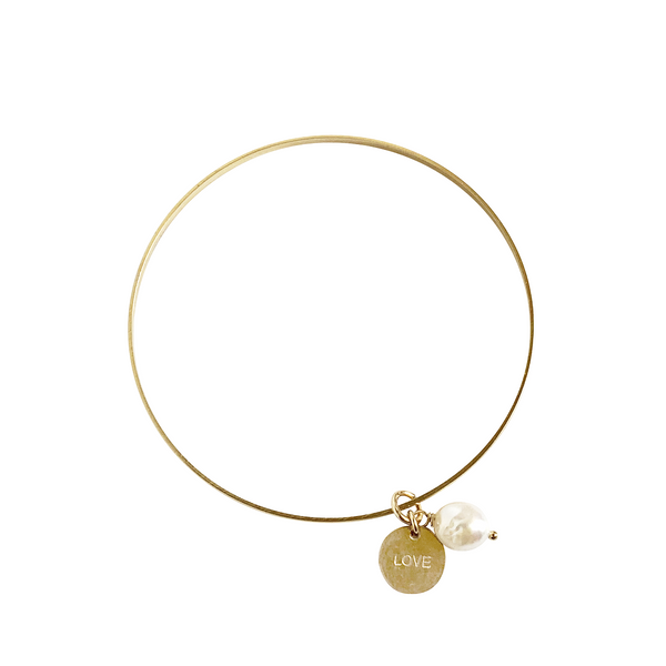 Love Pearl Bangle - Gold, Silver >>