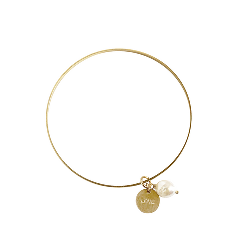 Love Pearl Bangle in Gold Colors