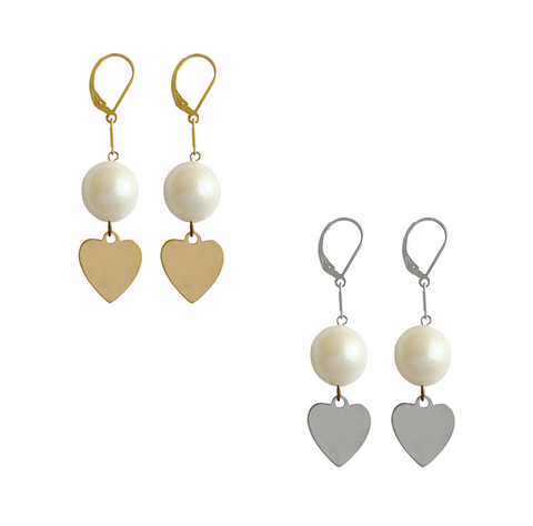 Baroque pearl and Heart Charm earring - Gold, Silver >>