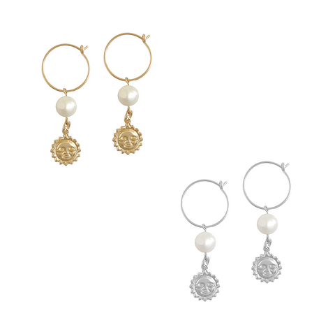 Pearl and Sun Charm Earring in Gold, Silver Colors
