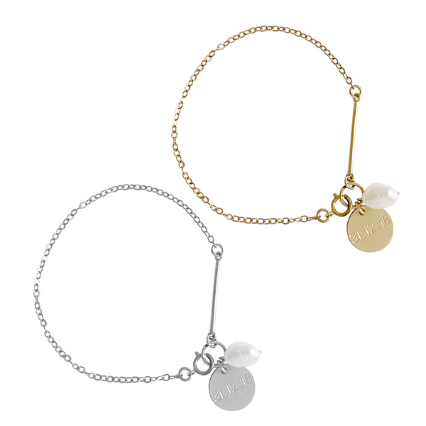 Penny Pearl and Disc Bracelet in Gold & Silver Color