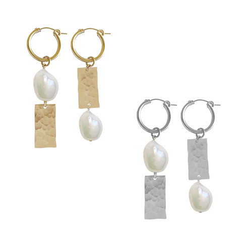 Pearl and Tag Mis-matched Hoop Earrings - Gold, Silver >>