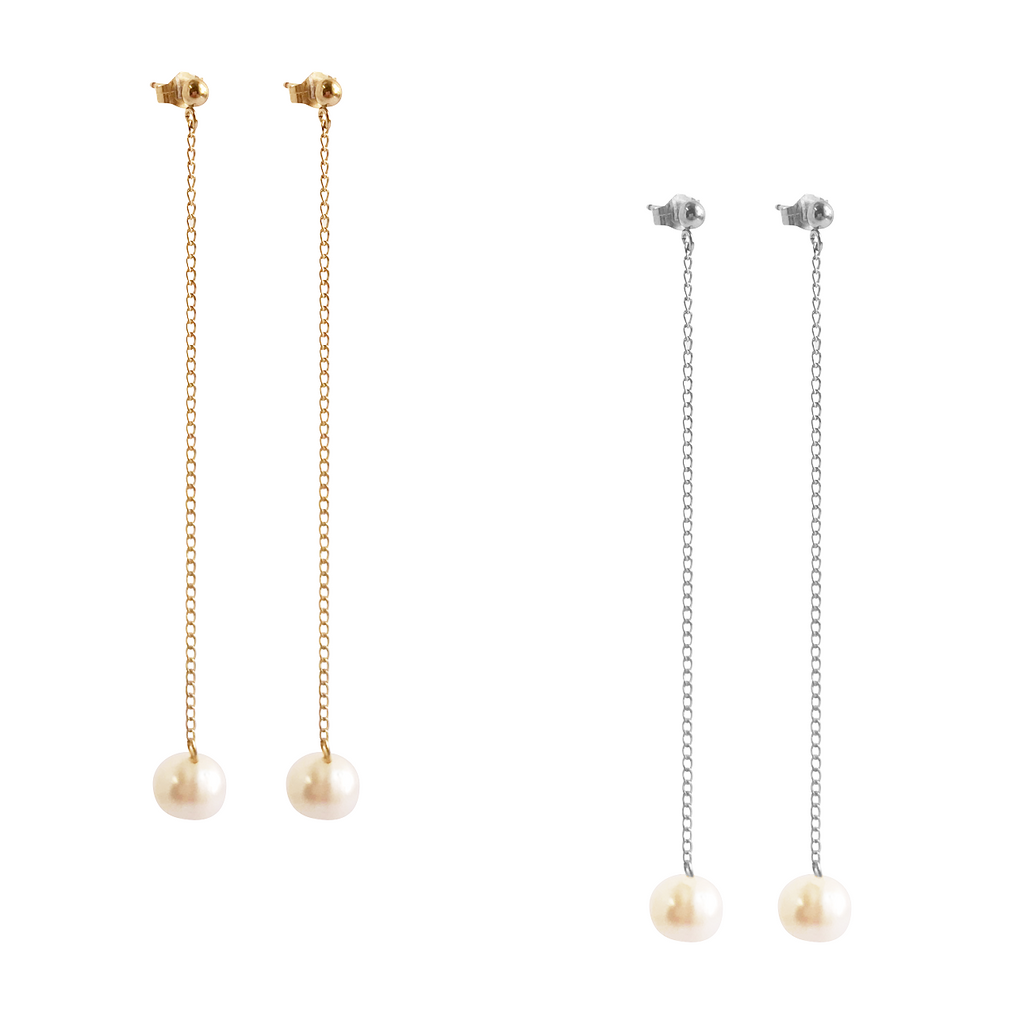 The Perla Drop Pearl Earring Gold, Silver, Rose Gold