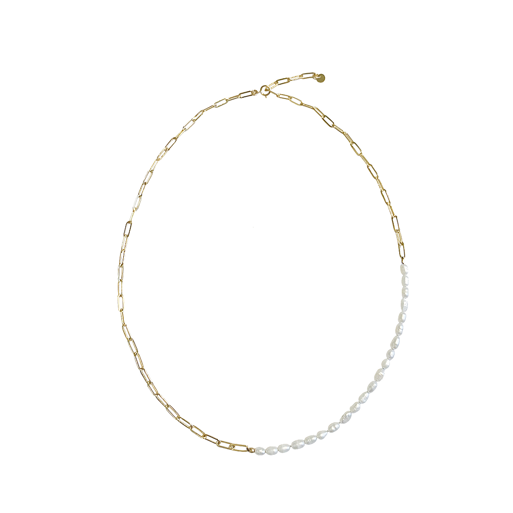 Pia Pearl and Chain Necklace Gold, Silver Colors