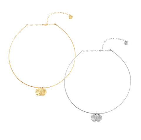 The Pure Choker - Wire Choker with double discs - Gold, Silver >>