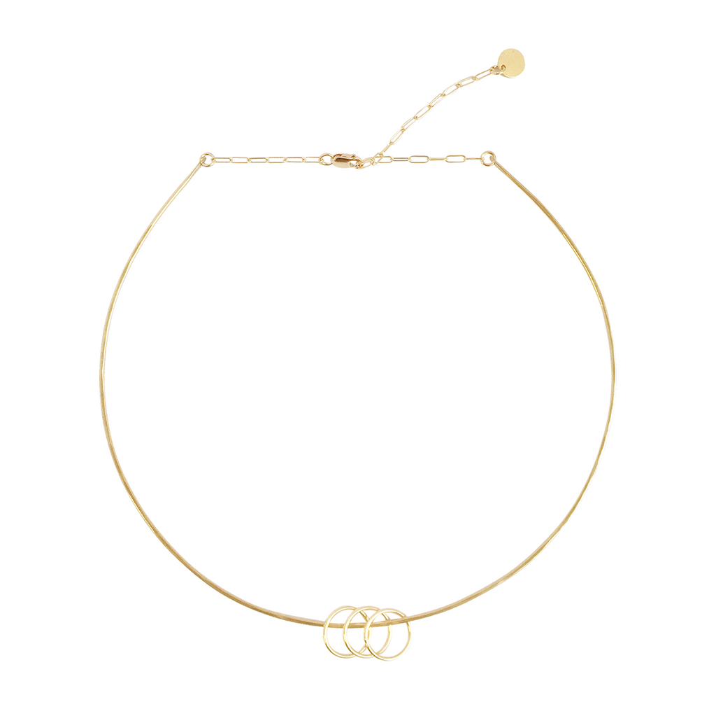 Wire Choker with Rings Necklace Gold, Silver