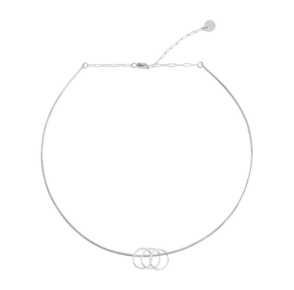 Wire Choker with Rings Necklace Gold, Silver-