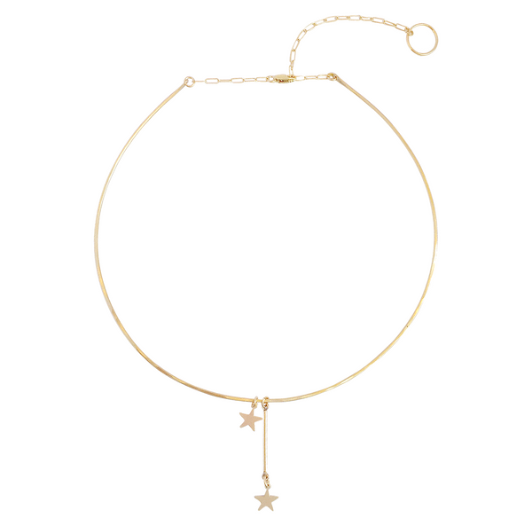 The Pure - Wire Choker with Double Star Charms Necklace- Gold, Silver >>