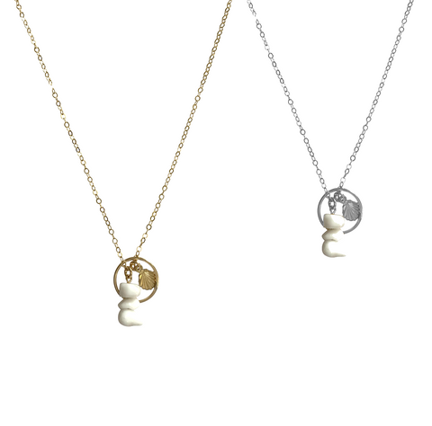 Ring and Shell Charm Necklace in Gold, Silver Colors