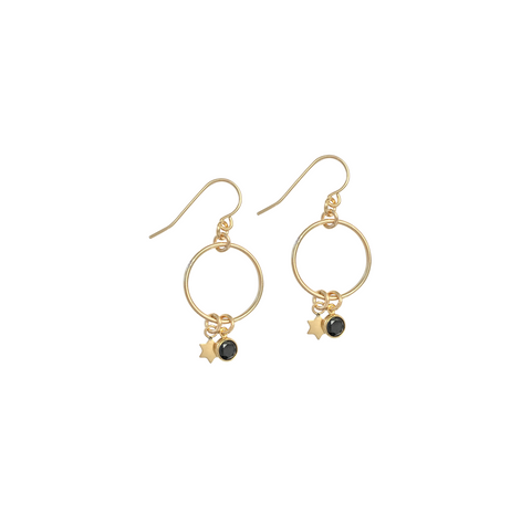 Bella Earrings with Star and Black Crystal in Gold