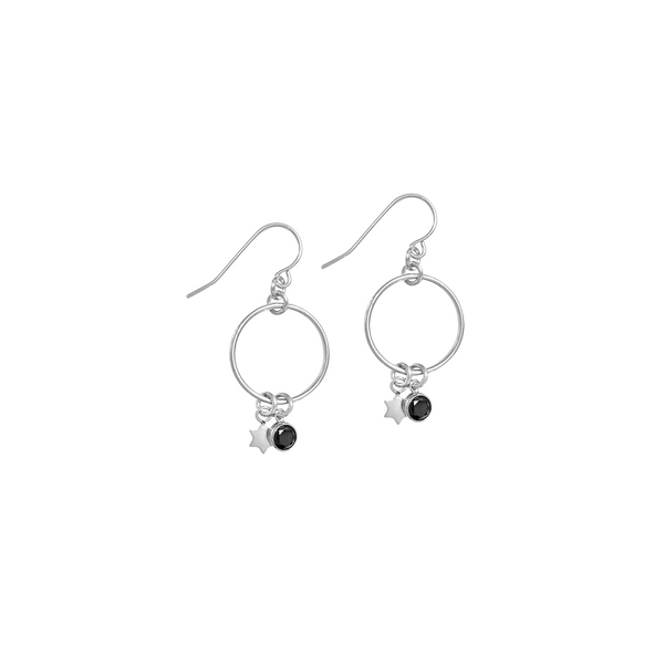 Bella Earrings with Star and Black Crystal in Silver