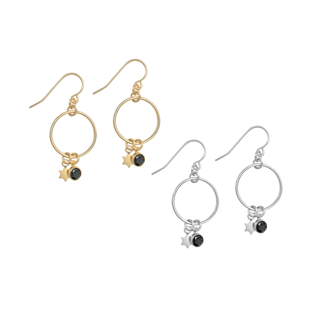 Bella earrings with star and black crystal - Gold, Silver >>
