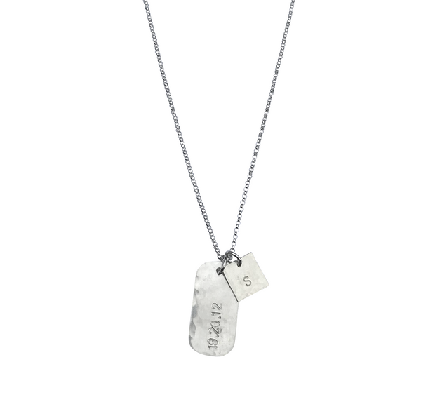 The Rio Large Tag Necklace in Silver