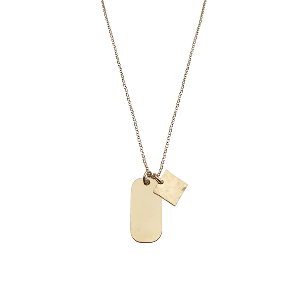 The Rio Large Tag Necklace in Gold