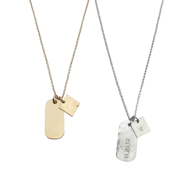 The Rio Large Tag Necklace in Gold, Silver