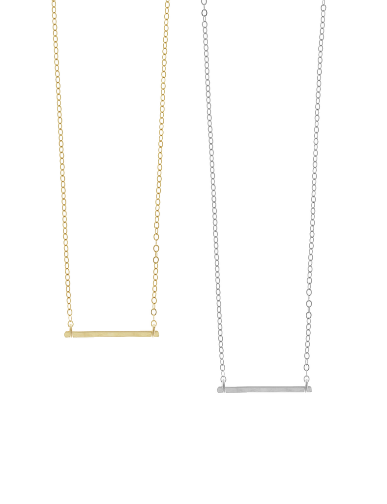 Ruby Mini Bar Necklace- Gold, Silver >>