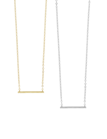 Ruby Mini Bar Necklace in Gold, Silver Colors