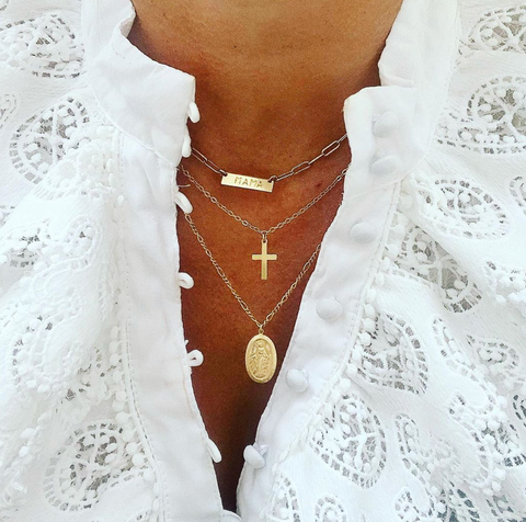 The Nina - I.D. BAR Necklace - Gold, Silver >>