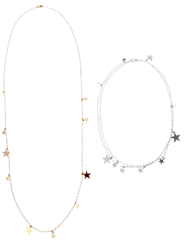 The Stevie - Multi Star Disc Necklace - Gold, Silver >>