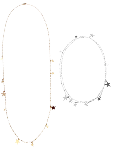 Multi Star Disc Necklace in Gold, Silver