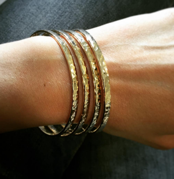 Thick Hammered Gold Filled Bangle >>