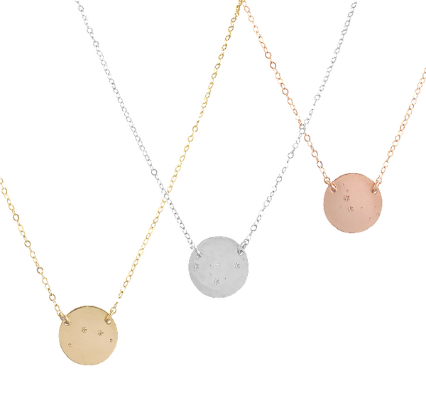 Zodiac Constellation Pendant - PISCES - Feb 20 - Mar 20 - Gold, Silver, Rose Gold