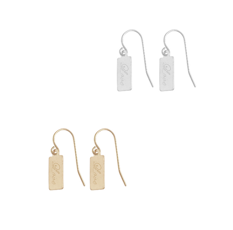 Love Mini Tag Earring in Gold and Silver Colors