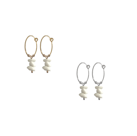 Mini Shell Hoop Earrings in Gold or Silver Colors