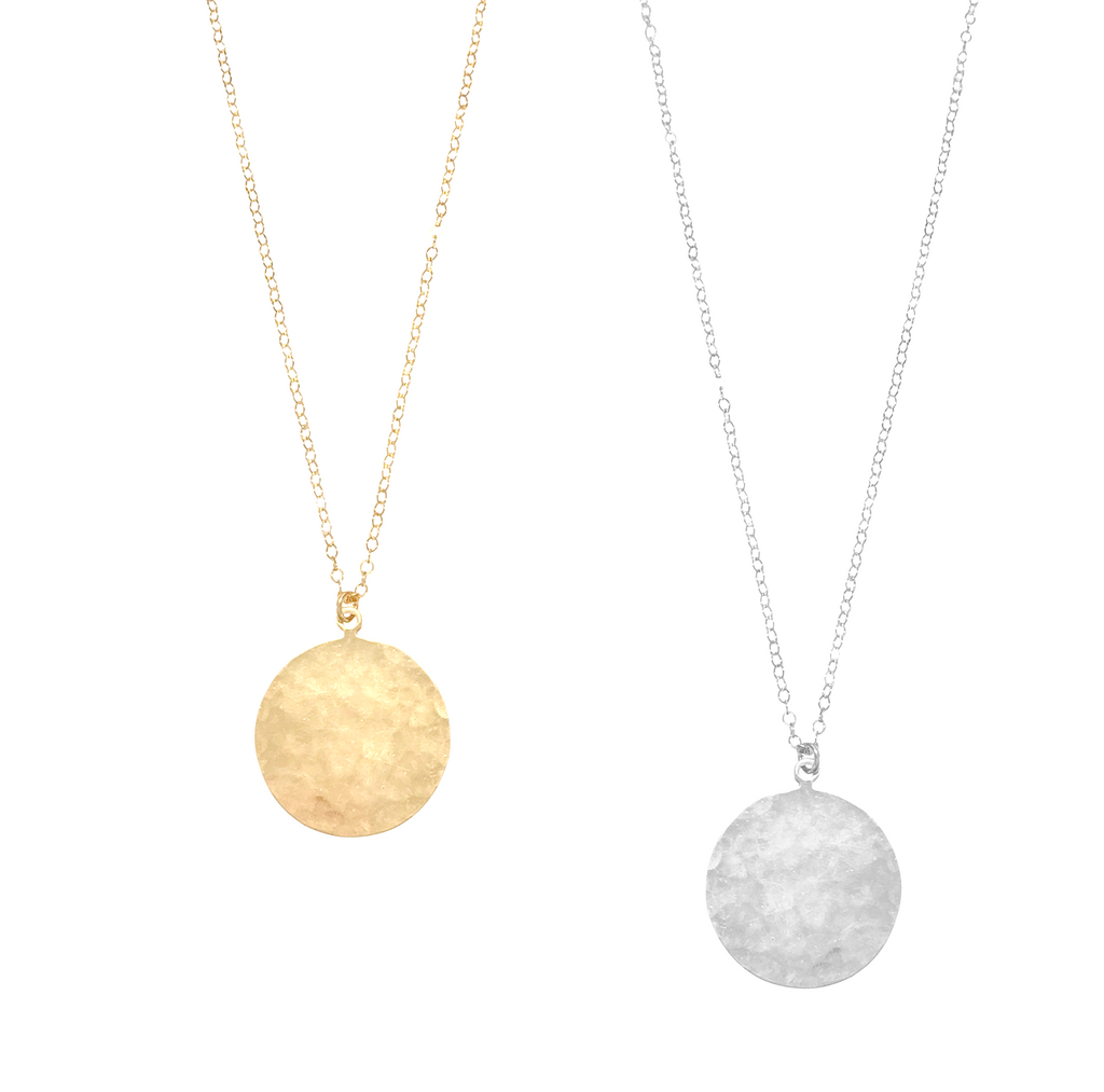 Large Disc Medallion Necklace in Gold, Silver