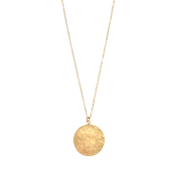 Large Disc Medallion Necklace in Gold