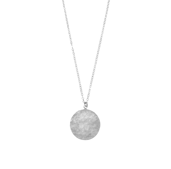 Large Disc Medallion Necklace in Silver