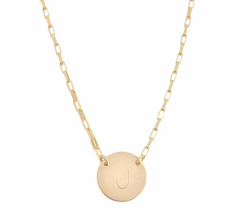 "The Sienna -  Initial Disc on Box Chain Necklace 18"" - Gold, Silver >>"