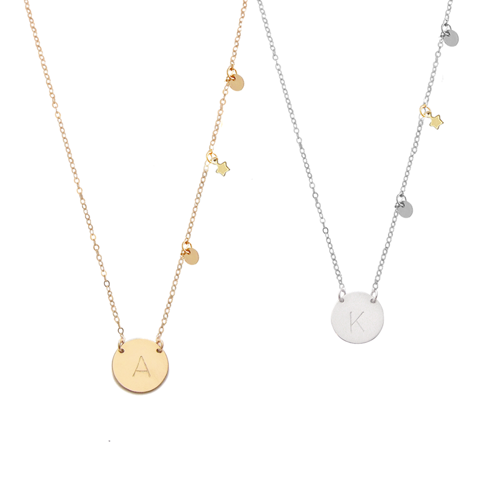 The Sophie - Classic Font - Initial Necklace with 3 charms - Gold, Silver >>