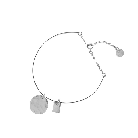 Steph Cuff with Disc in Silver Color
