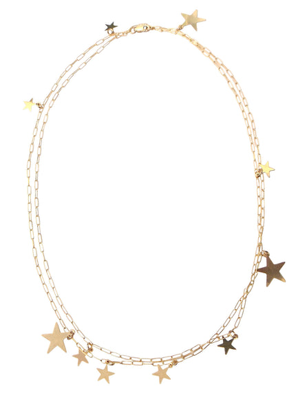 Multi Star Disc Necklace in Gold, Silver-