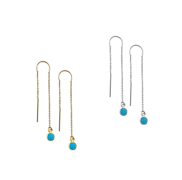 Earring thread with turquoise stone - Gold, Silver >>
