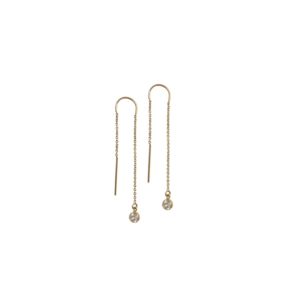 Earring thread with Crystal - Gold, Silver, Rose Gold >>