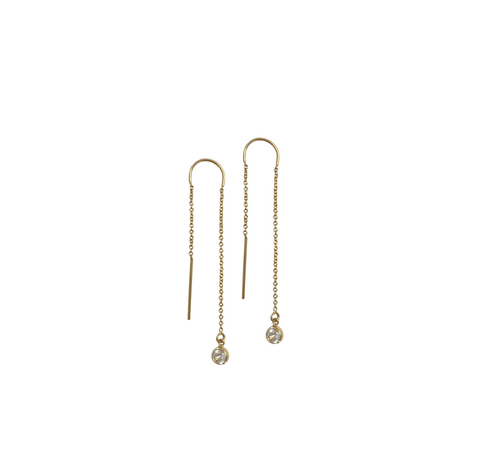 Earring Thread with Crystal in Gold