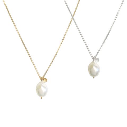 Tess Baroque Pearl Necklace in Gold, Silver Rose Gold Color