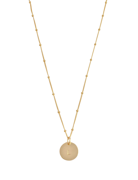 "The Aria - Classic Disc Necklace on Bead Chain 18"" in Gold Color"