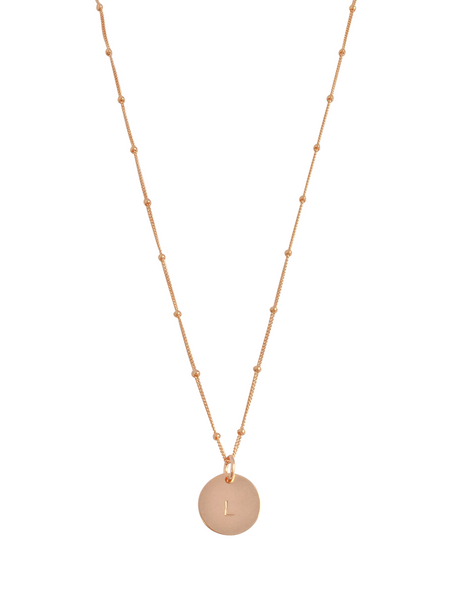 "The Aria - Classic Disc Necklace on Bead Chain 18"" in Rose Gold Color"