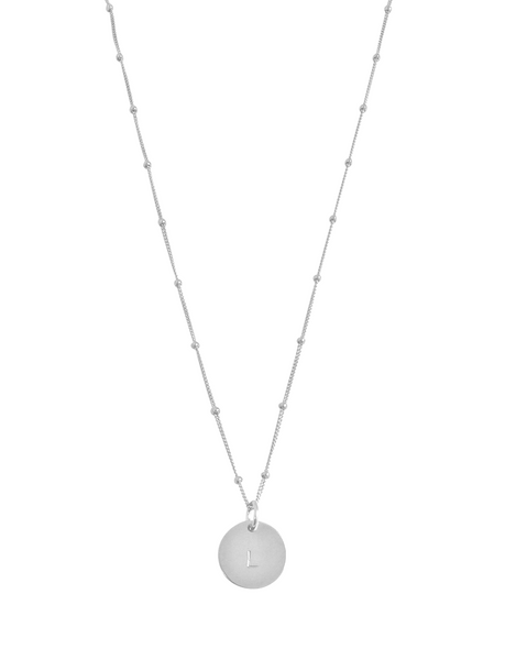 "The Aria - Classic Disc Necklace on Bead Chain 18"" in Silver Color"