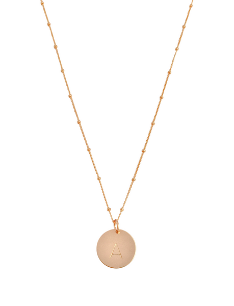 The Aria Large - Disc Necklace on Bead Chain 18""