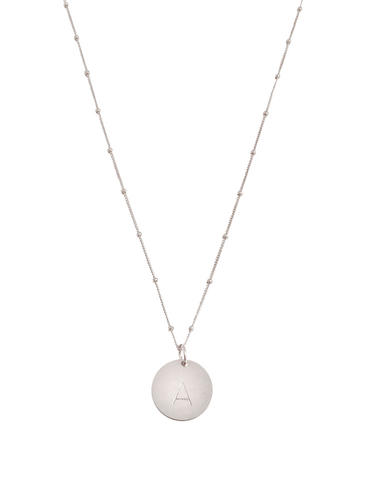 The Aria Large - Silver Disc Necklace on Bead Chain 18""