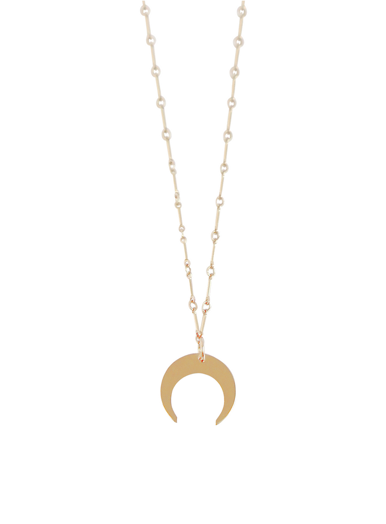 The Ava Horn Necklace - Large on Bar Chain- Gold, Silver >>