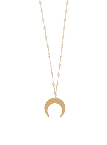 The Ava Horn Necklace Large on Bar Chain Gold, Silver Color