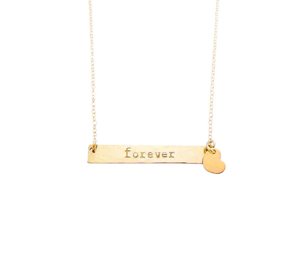 The Romy I.D. Bar Necklace with Star or Heart Rose Gold